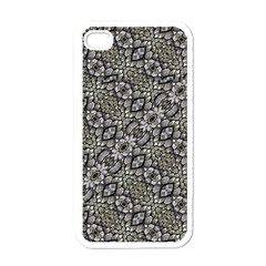 Silver Oriental Ornate  Apple iPhone 4 Case (White)