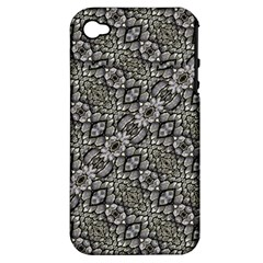 Silver Oriental Ornate  Apple iPhone 4/4S Hardshell Case (PC+Silicone)