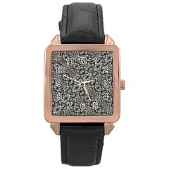 Silver Oriental Ornate  Rose Gold Leather Watch