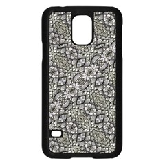 Silver Oriental Ornate  Samsung Galaxy S5 Case (Black)