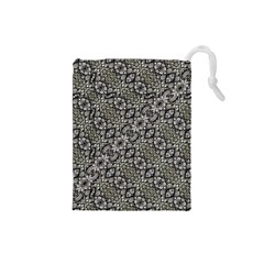 Silver Oriental Ornate  Drawstring Pouches (Small)