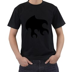 Flames Men s T-Shirt (Black) (Two Sided)