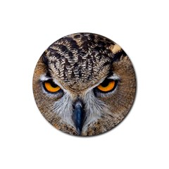 Great Horned Owl 1 Rubber Coaster (Round)