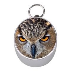 Great Horned Owl 1 Mini Silver Compasses