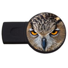 Great Horned Owl 1 USB Flash Drive Round (1 GB)