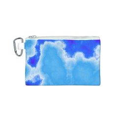 Powder Blue And Indigo Sky Pillow Canvas Cosmetic Bag (S)