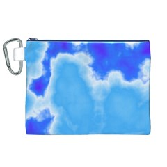 Powder Blue And Indigo Sky Pillow Canvas Cosmetic Bag (XL)
