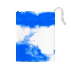 Blue Cloud Drawstring Pouches (Large)