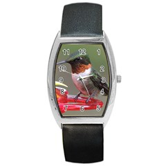Male Ruby Throated Humming Bird Barrel Style Metal Watch