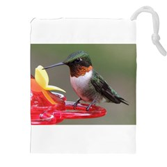 Male Ruby Throated Humming Bird Drawstring Pouches (XXL)