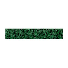 Green Ombre Feather Pattern, Black, Flano Scarf (Mini)