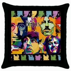Beatles Black Throw Pillow Case