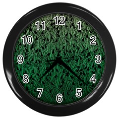 Green Ombre feather pattern, black, Wall Clock (Black)