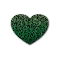 Green Ombre feather pattern, black, Heart Coaster (4 pack)