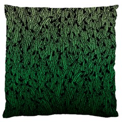 Green Ombre feather pattern, black, Large Flano Cushion Case (One Side)