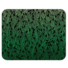 Green Ombre feather pattern, black, Double Sided Flano Blanket (Medium)