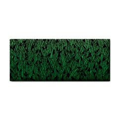 Green Ombre feather pattern, black, Hand Towel