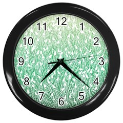 Green Ombre feather pattern, white, Wall Clock (Black)