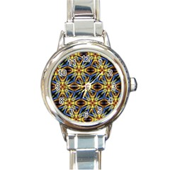 Vibrant Medieval Check Round Italian Charm Watch