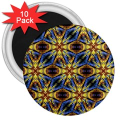 Vibrant Medieval Check 3  Magnets (10 pack)