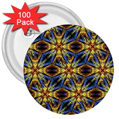 Vibrant Medieval Check 3  Buttons (100 pack)