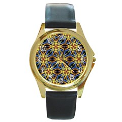 Vibrant Medieval Check Round Gold Metal Watch
