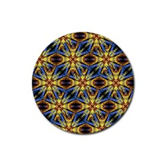 Vibrant Medieval Check Rubber Round Coaster (4 pack)
