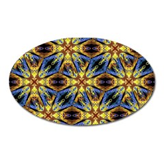 Vibrant Medieval Check Oval Magnet