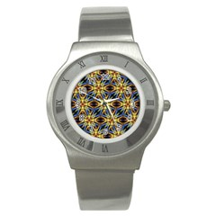 Vibrant Medieval Check Stainless Steel Watch