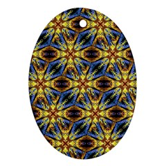 Vibrant Medieval Check Oval Ornament (Two Sides)