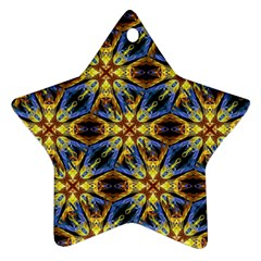 Vibrant Medieval Check Star Ornament (Two Sides)