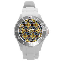 Vibrant Medieval Check Round Plastic Sport Watch (L)
