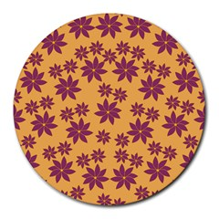 Purple And Yellow Flower Shower Round Mousepads