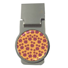 Purple And Yellow Flower Shower Money Clips (round)