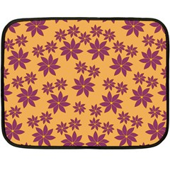 Purple And Yellow Flower Shower Fleece Blanket (mini)
