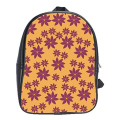 Purple And Yellow Flower Shower School Bags(Large)