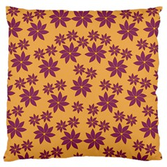 Purple And Yellow Flower Shower Large Flano Cushion Case (One Side)
