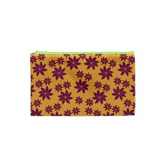 Purple And Yellow Flower Shower Cosmetic Bag (XS)