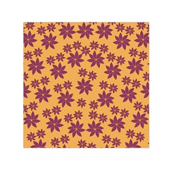 Purple And Yellow Flower Shower Small Satin Scarf (Square)
