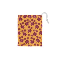 Purple And Yellow Flower Shower Drawstring Pouches (xs)