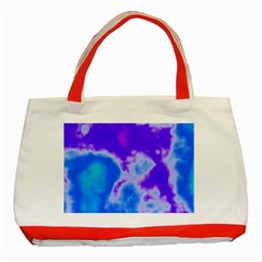 Purple And Blue Clouds Classic Tote Bag (Red)