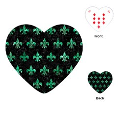 Royal1 Black Marble & Green Marble (r) Playing Cards (heart)