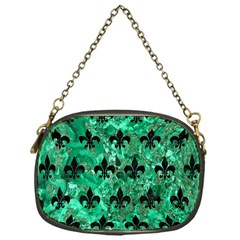 Royal1 Black Marble & Green Marble Chain Purse (one Side)