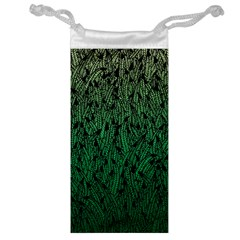 Green Ombre feather pattern, black, Jewelry Bag