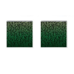 Green Ombre feather pattern, black, Cufflinks (Square)