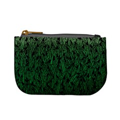 Green Ombre feather pattern, black, Mini Coin Purse