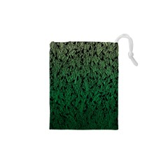 Green Ombre feather pattern, black, Drawstring Pouch (XS)