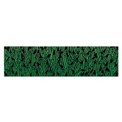 Green Ombre feather pattern, black, Satin Scarf (Oblong)