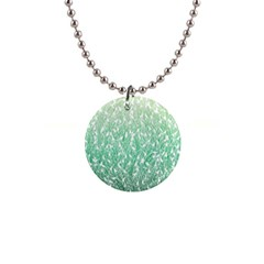 Green Ombre feather pattern, white, 1  Button Necklace