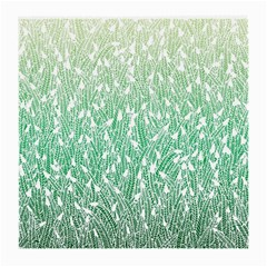 Green Ombre feather pattern, white, Medium Glasses Cloth (2 Sides)